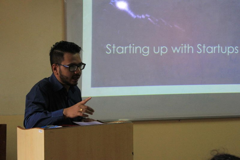 Shivam Singh delivering his talk